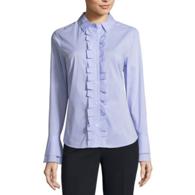 Liz Claiborne Bell Sleeve Ruffle Front Shirt