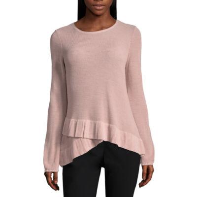 212 NY Long Sleeve Ruffle Hem Sweater