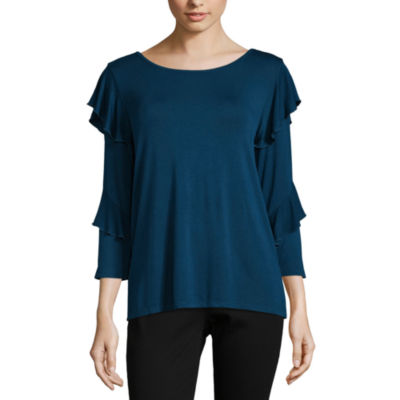 Liz Claiborne 3/4 Sleeve Ruffle Shoulder T-Shirt-Womens