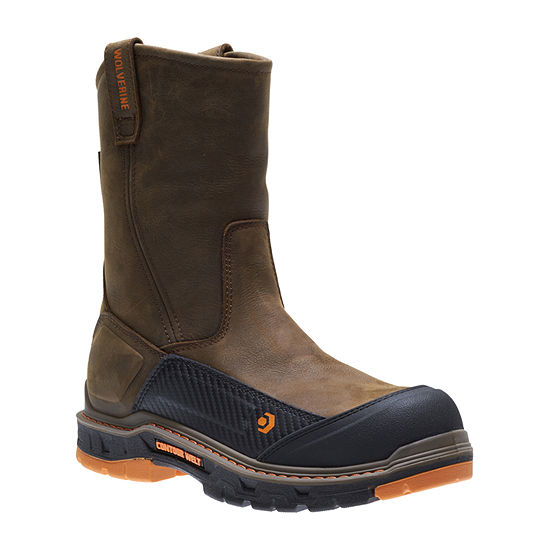 de5ec968df6 Wolverine Mens Overpass Waterproof Slip Resistant Composite Toe Pull-on  Work Boots