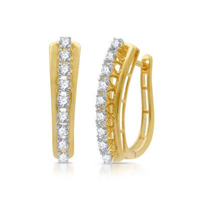 1 CT. T.W. Genuine Diamond 10K Gold Hoop Earrings