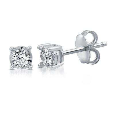 1/3 CT. T.W. Genuine White Diamond Sterling Silver 6mm Stud Earrings