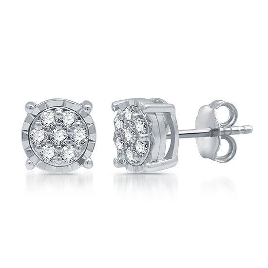 Diamond Blossom 1/5 CT. T.W. Genuine Diamond Sterling Silver 6.3mm Stud Earrings
