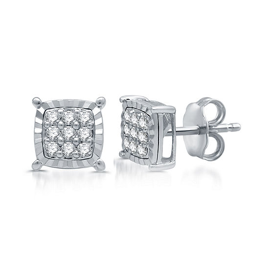 Diamond Blossom 1/5 CT. T.W. Genuine Diamond Sterling Silver 7mm Stud Earrings