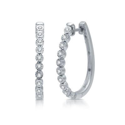 1/4 CT. T.W. Genuine Diamond Sterling Silver Hoop Earrings