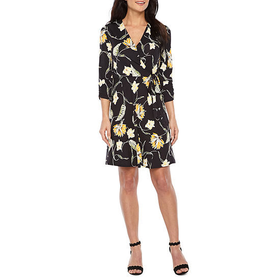 Alyx 3 4 Sleeve Floral Puff Print Wrap Dress
