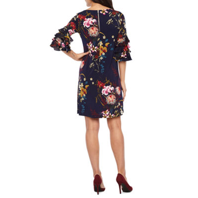 Danny & Nicole 3/4 Cha Cha Sleeve Floral Shift Dress