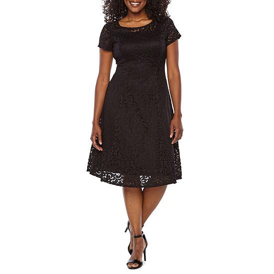 Ronni Nicole-Petite Short Sleeve Paisley Midi Fit & Flare Dress
