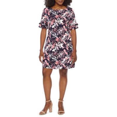 Ronni Nicole Elbow Sleeve Floral Shift Dress-Petite
