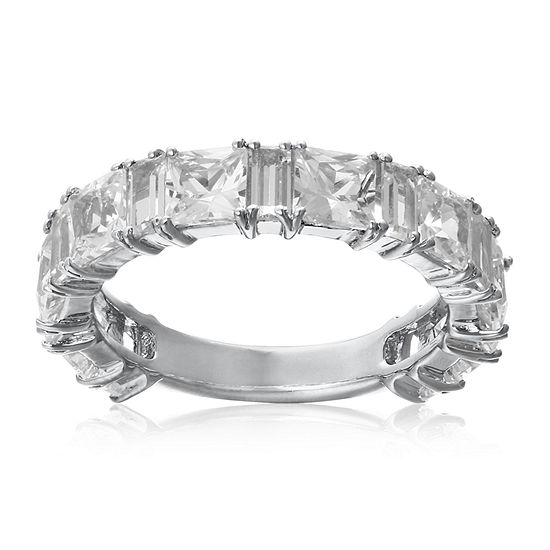 Womens Lab Created White Sapphire Sterling Silver Band