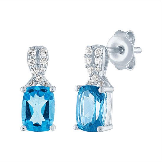 Genuine Blue Topaz Sterling Silver 12.8mm Stud Earrings