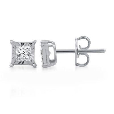1/3 CT. T.W. Genuine White Diamond 6mm Stud Earrings
