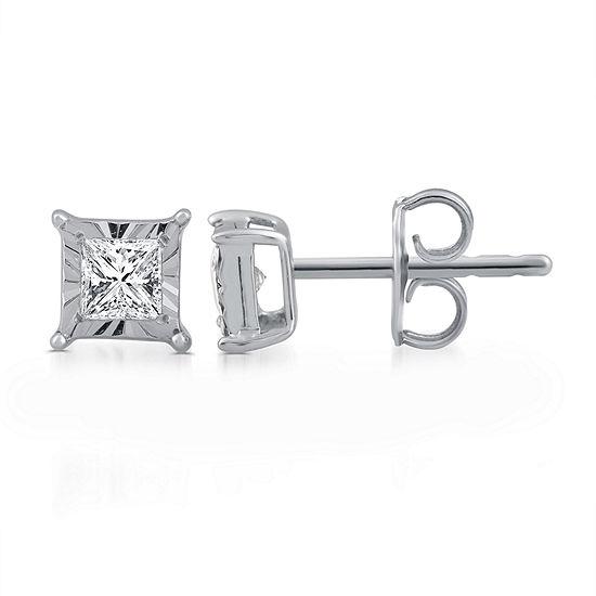 1/3 CT. T.W. Genuine White Diamond Sterling Silver 6mm Stud Earrings