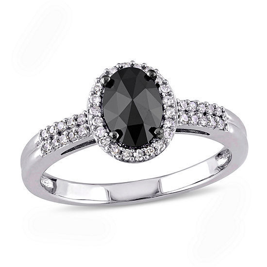 Midnight Black Womens 1 CT. T.W. Genuine Black Diamond 14K White Gold Engagement Ring