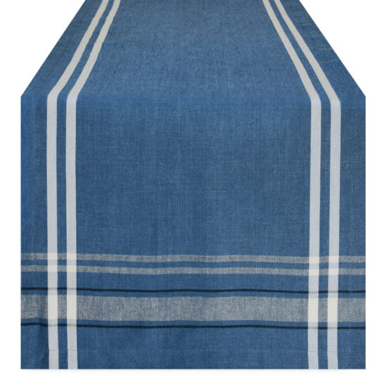 "Tickled Pink 108"" X 14"" Chambray French Stripe Table Runner"