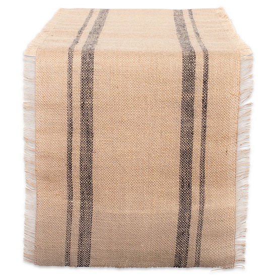 """Tickled Pink Mineral 108"""" X 14"""" Double Border Burlap Table Runner"""