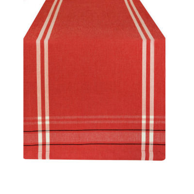 """Tickled Pink Tango Red 72"""" X 14"""" French Chambray Table Runner"""