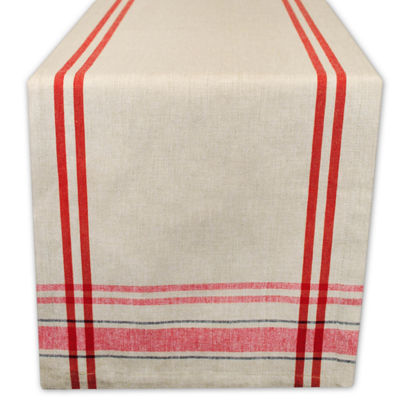"Tickled Pink Red 72"" X 14"" French Stripe Table Runner"
