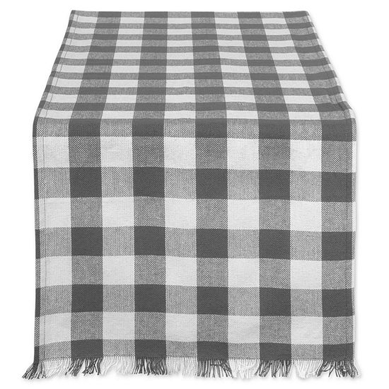 """Tickled Pink Gray 72"""" X 14"""" Heavyweight Check Fringed Table Runner"""