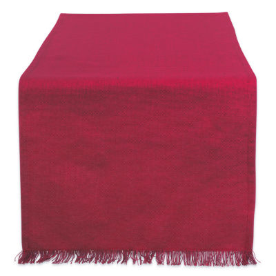 """Tickled Pink Solid Wine 72"""" X 14"""" Heavyweight Fringed Table Runner"""