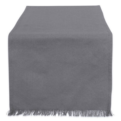 "Tickled Pink Solid Gray 108"" X 14"" Heavyweight Fringed Table Runner"