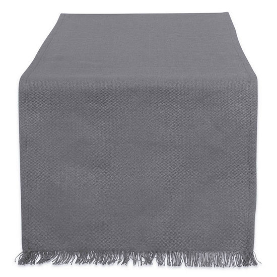 """Tickled Pink Solid Gray 108"""" X 14"""" Heavyweight Fringed Table Runner"""