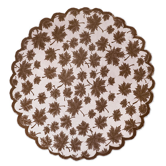 """Tickled Pink Brown 40"""" X 40"""" Lace Leaf Table Topper"""