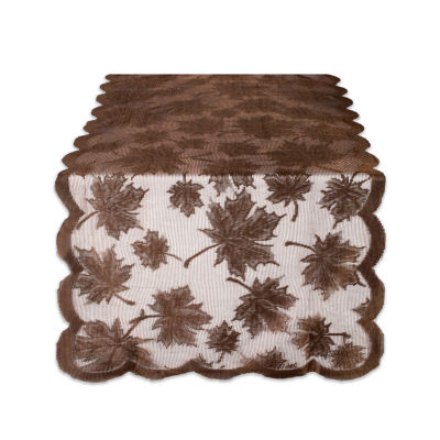 """Tickled Pink Brown 72"""" X 18"""" Lace Maple Leaf Table Runner"""