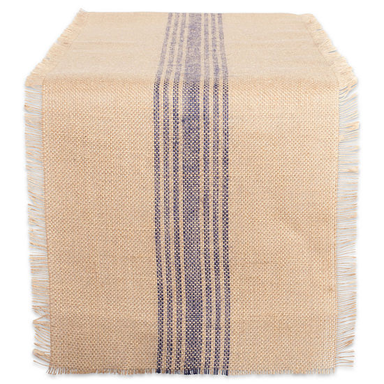 Tickled Pink French Blue 108 X 14 Middle Stripe Burlap Table Runner