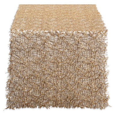 """Tickled Pink Gold 120"""" X 16"""" Sequin Mesh Table Runner Roll"""