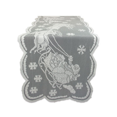 """Tickled Pink White 72"""" X 14"""" Snow Village Lace Table Runner"""