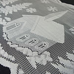 "Tickled Pink White 72"" X 14"" Snow Village Lace Table Runner"