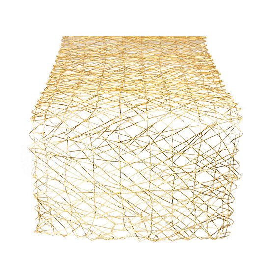 """Tickled Pink Gold 72"""" X 14"""" Woven Paper Table Runner"""
