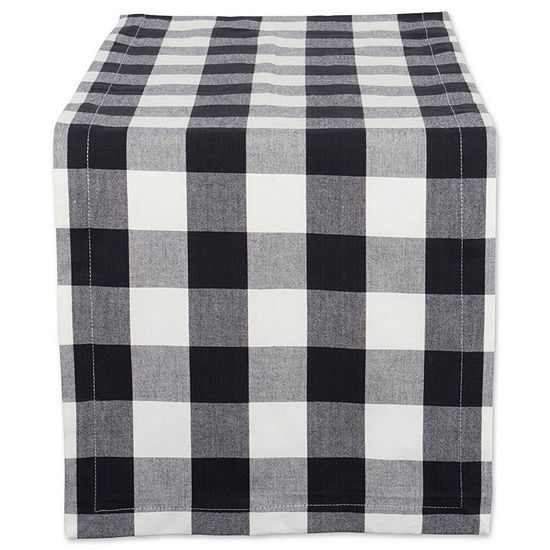Tickled Pink Navy 72 X 14 Buffalo Check Table Runner