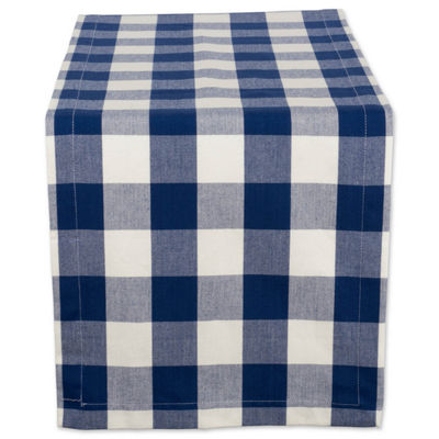 "Tickled Pink Navy 72"" X 14"" Buffalo Check Table Runner"