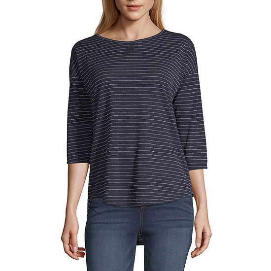 a.n.a-Womens Round Neck 3/4 Sleeve T-Shirt
