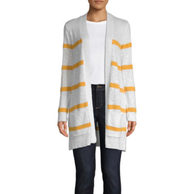 St. John's Bay Womens Long Sleeve Open Front Striped Cardigan