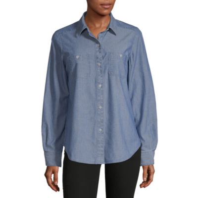 Liz Claiborne Simply Womens Long Sleeve Button-Front Shirt