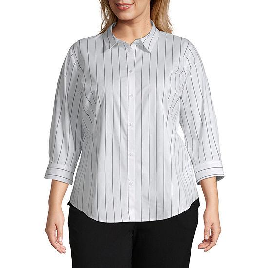 Liz Claiborne 3 4 Sleeve Button Front Shirt Plus
