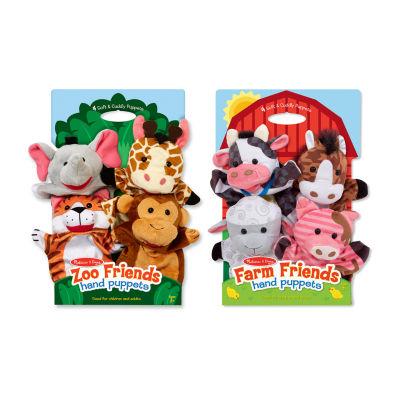 Melissa & Doug Hand Puppet Bundles - Farm & Zoo Friends 8-pc. Interactive Toy - Unisex