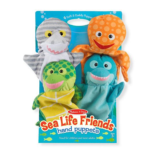 Melissa & Doug Sea Life Friends Hand Puppets 4-pc. Interactive Toy - Unisex