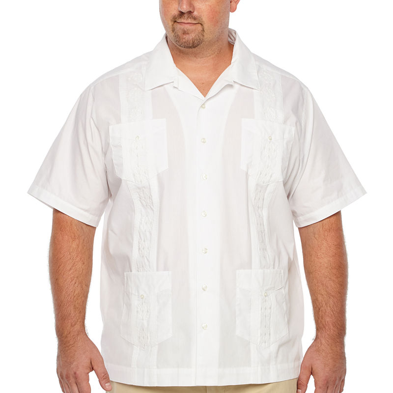 Mens Vintage Shirts – Retro Shirts Cubavera Mens Short Sleeve Button-Front Shirt Big and Tall Size 4x-large Tall White $45.00 AT vintagedancer.com