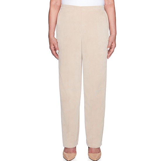 Alfred Dunner Home For The Holidays Womens High Waisted Straight Pull-On Pants