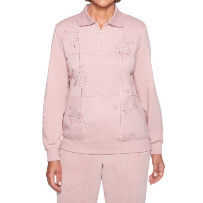Alfred Dunner Home For The Holidays Long Sleeve Collar Neck T-Shirt-Womens