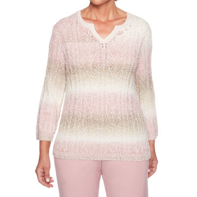 Alfred Dunner Home For The Holidays Womens Split Crew Neck 3/4 Sleeve Pullover Sweater
