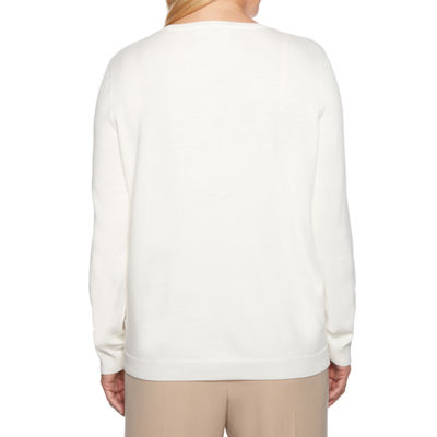 Alfred Dunner Home For The Holidays Womens Crew Neck Long Sleeve Pullover Sweater