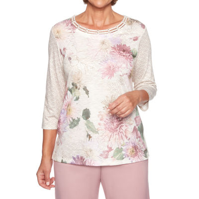Alfred Dunner Home For The Holidays 3/4 Sleeve Round Neck T-Shirt-Womens