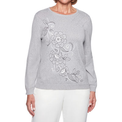 Alfred Dunner Stocking Stuffers Womens Crew Neck Long Sleeve Floral Pullover Sweater