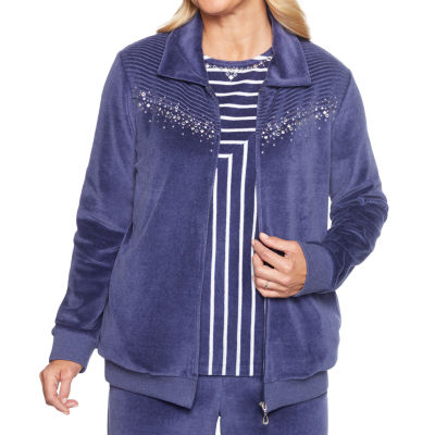 Alfred Dunner Comfortable Situation Velour Lightweight Track Jacket