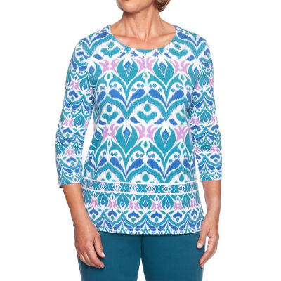 Alfred Dunner Comfortable Situation 3/4 Sleeve Round Neck Scroll T-Shirt-Womens